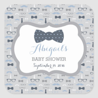 Little Man Baby Shower Sticker, Navy Blue, Gray Square Sticker