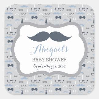 Little Man Baby Shower Sticker, Navy Blue, Gray Square Sticker