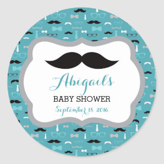 Little Man Baby Shower Sticker, Teal, Aqua, Black Classic Round Sticker