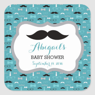 Little Man Baby Shower Sticker, Teal, Aqua, Black Square Sticker