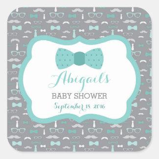 Little Man Baby Shower Sticker, Teal, Aqua, Gray Square Sticker