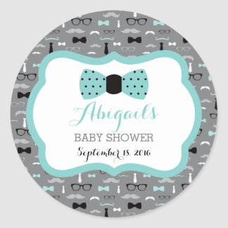 Little Man Baby Shower Sticker, Teal, Gray, Black Classic Round Sticker