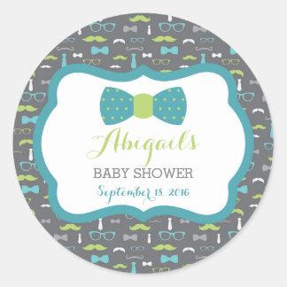 Little Man Baby Shower Sticker, Teal, Green, Gray Classic Round Sticker