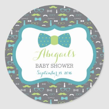 Toddler & Baby themed Little Man Baby Shower Sticker, Teal, Green, Gray Classic Round Sticker