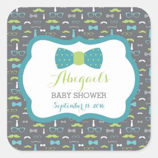 Little Man Baby Shower Sticker, Teal, Green, Gray Square Sticker