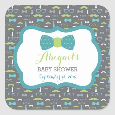 Toddler & Baby themed Little Man Baby Shower Sticker, Teal, Green, Gray Square Sticker