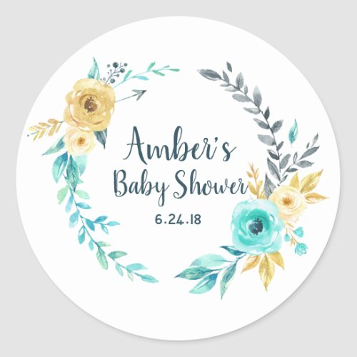 Little Man Baby Shower Wreath Favor Tag Sticker