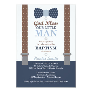 Little Man Baptism Invitation, Navy Blue, Brown Card