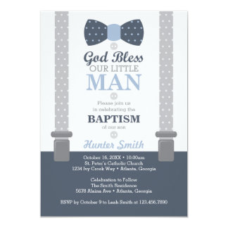 Baby dedication invitations announcements zazzle little man baptism invitation navy blue gray card stopboris Image collections