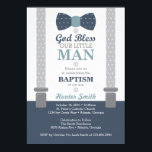 "Little Man Baptism Invitation, Navy Blue, Gray Invitation<br><div class=""desc"">Invite attendees to your son&#39;s baptism with this classic little man themed baptism invitation! Available in many colors and patterns.</div>"