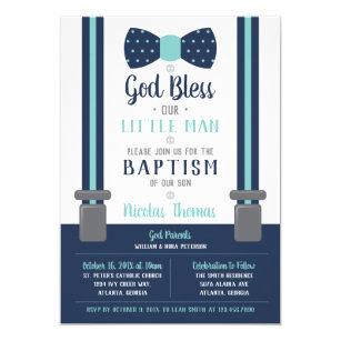 Baby dedication invitations announcements zazzle little man baptism invitation navy turquoise invitation stopboris Choice Image