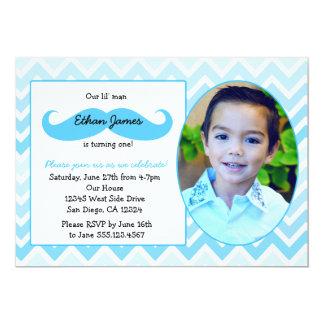 "Little Man Birthday First invitation Mustache bash 5"" X 7"" Invitation Card"