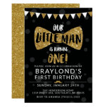 Little Man Birthday Invitation, Black & Gold Invitation
