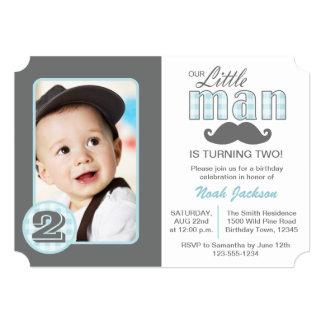 Little Man Birthday Mustache Photo Invitation
