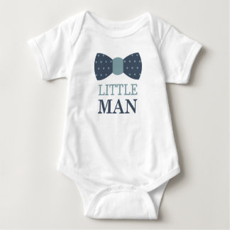 Little Man Bow Tie Baby Bodysuit in Navy and Gray