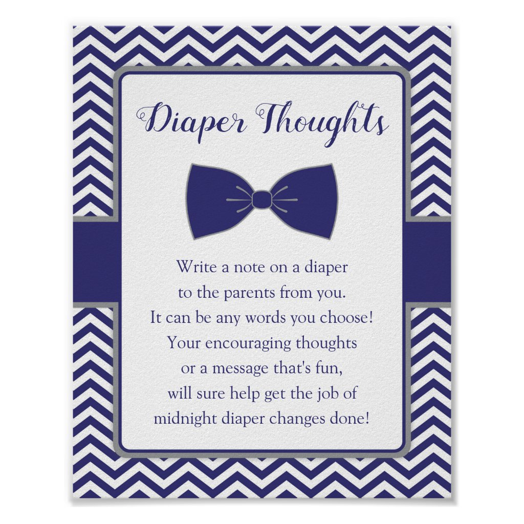 Little Man Bow Tie Baby Shower Diaper Thoughts Poster