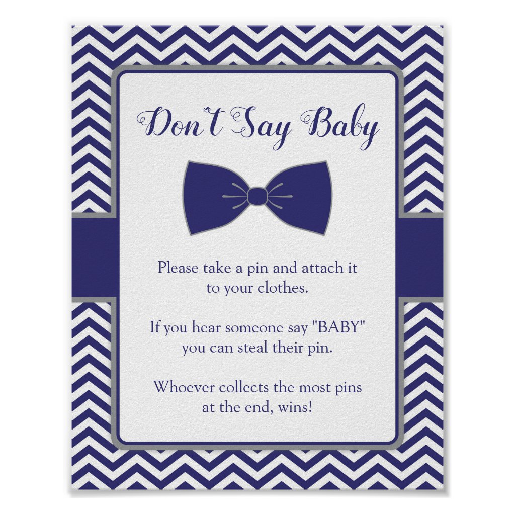 Little Man Bow Tie Baby Shower Don't Say Baby Sign