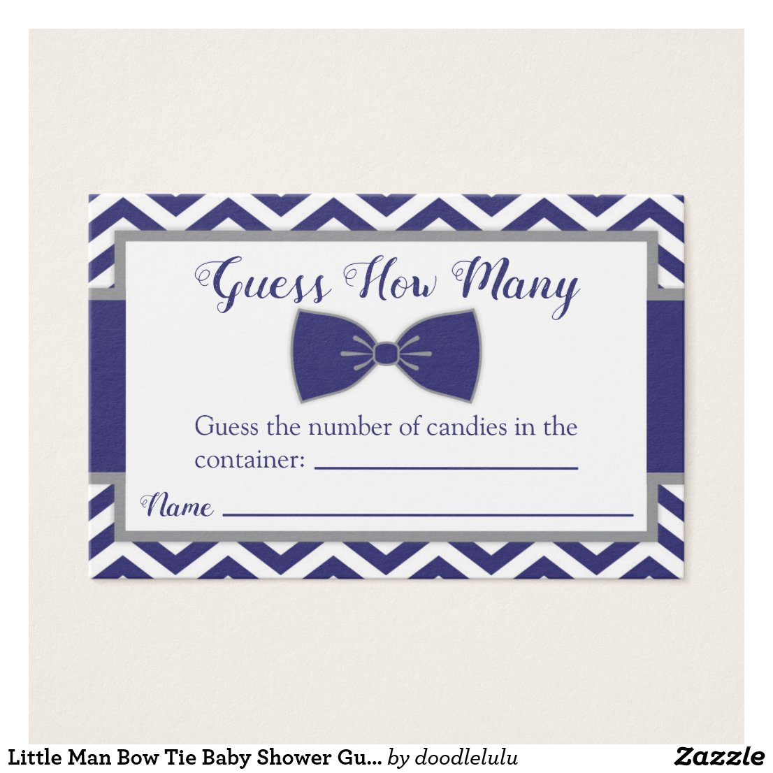Little Man Bow Tie Baby Shower Guess How Many Card