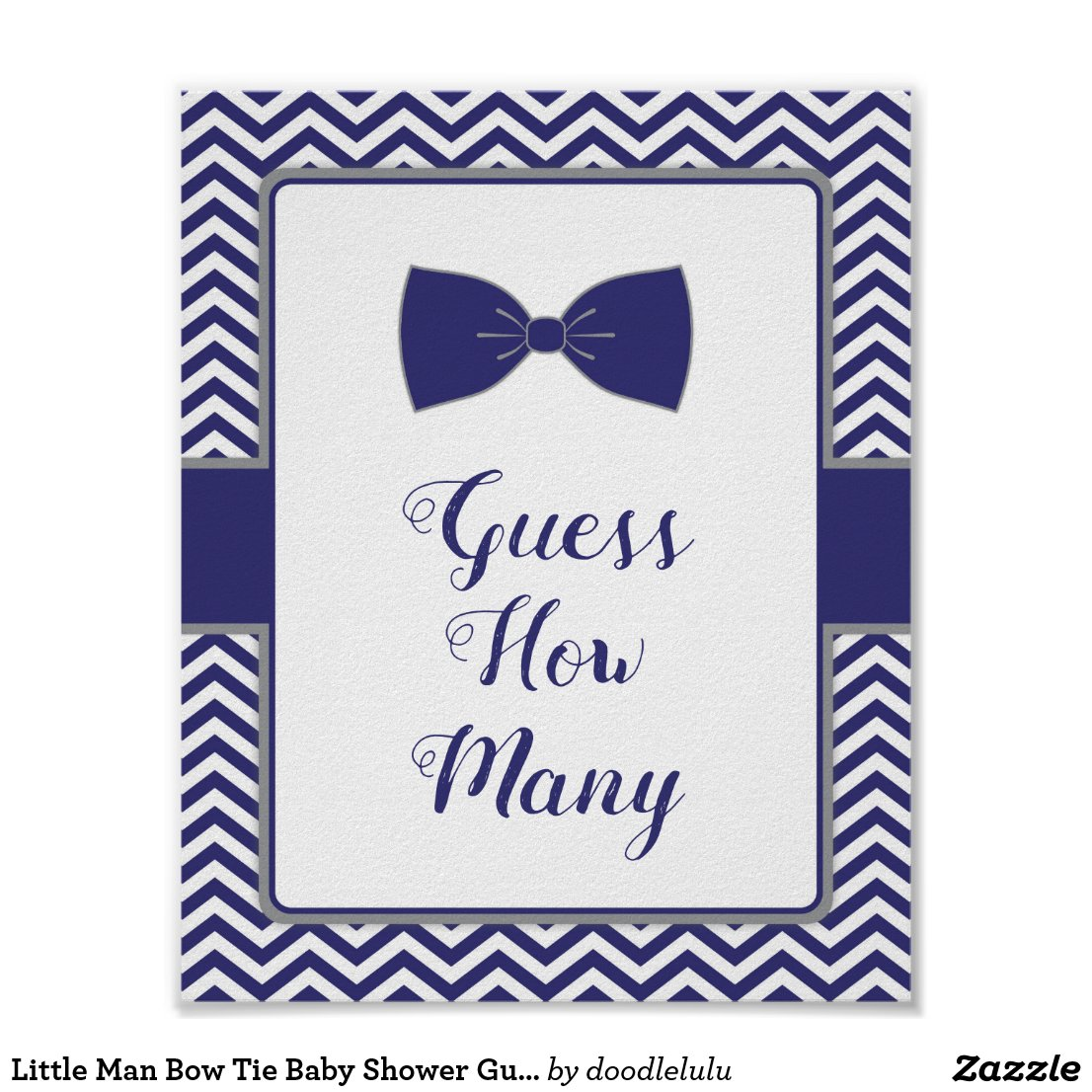 Little Man Bow Tie Baby Shower Guess How Many Poster
