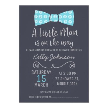 Toddler & Baby themed Little Man Bow Tie Baby Shower Invitation