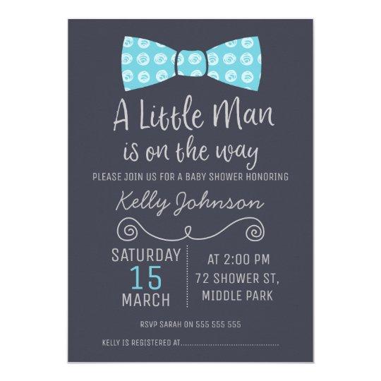 Little Man Bow Tie Baby Shower Invitation Zazzle Com