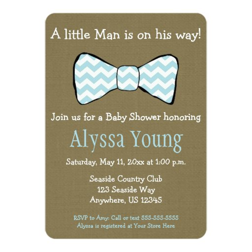 little man bow tie baby shower invite 5 x 7 invitation card zazzle