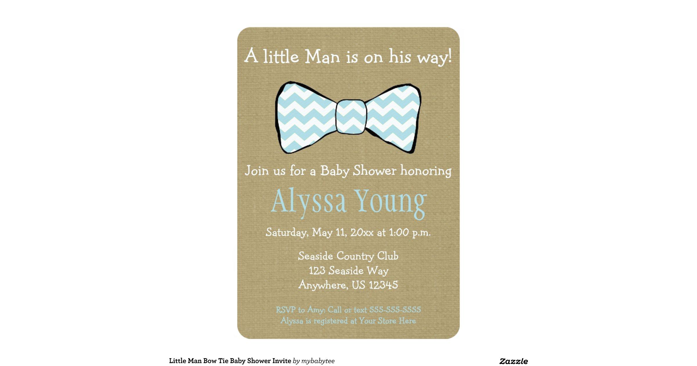 little man bow tie baby shower invite