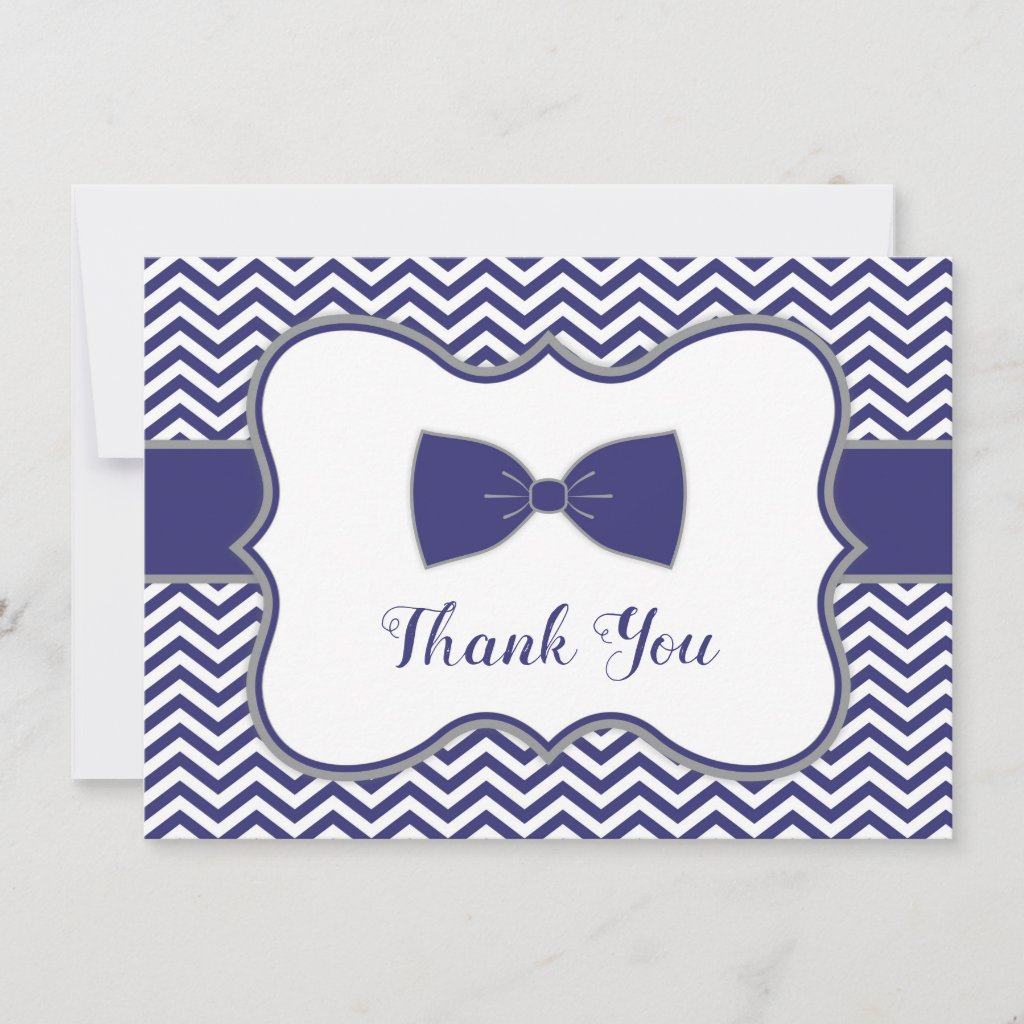Little Man Bow Tie Baby Shower Thank You navy gray