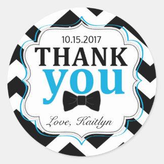 Little Man Bow-tie Chevron Print Thank You Classic Round Sticker
