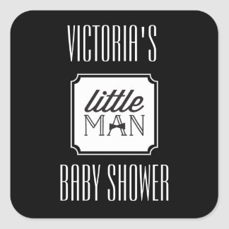Little Man Bow Tie Couples Baby Shower Gift Tag Square Sticker