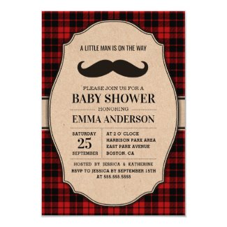 Little Man Boy Baby Shower Invitation - Mustache