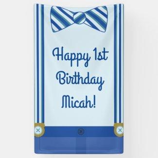 Little Man Boy's 1st Birthday Party Banner