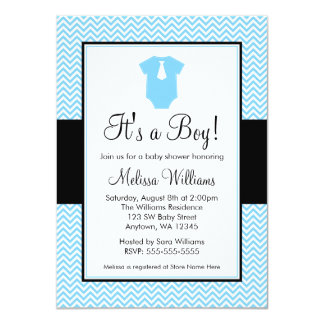 Little Man Chevron Blue Black Baby Shower 4.5x6.25 Paper Invitation Card