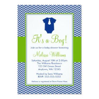 Little Man Chevron Blue Green Baby Shower 5x7 Paper Invitation Card