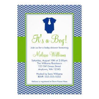 Little Man Chevron Blue Green Baby Shower Invites