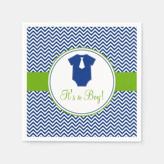 Little Man Chevron Blue Green Baby Shower Paper Napkin