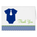 Little Man Chevron Blue Green Thank You Stationery Note Card