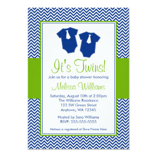 Little Man Chevron Blue Green Twins Baby Shower 5x7 Paper Invitation Card
