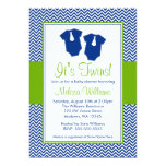 Little Man Chevron Blue Green Twins Baby Shower Personalized Invite