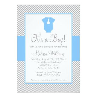 Little Man Chevron Gray Blue Baby Shower 5x7 Paper Invitation Card