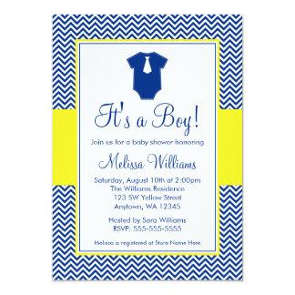 Little Man Chevron Navy Blue Yellow Baby Shower Card