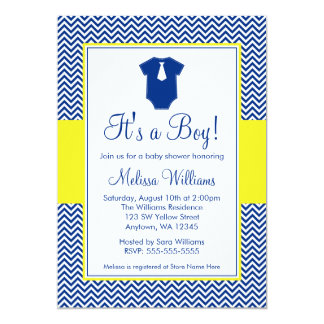 Little Man Chevron Navy Blue Yellow Baby Shower 5x7 Paper Invitation Card