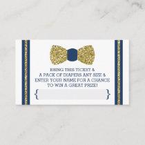 Little Man Diaper Raffle Ticket, Gold, Navy Enclosure Card