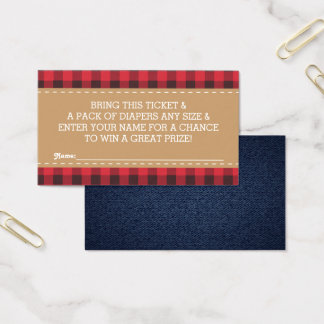 Little Man Diaper Raffle Ticket, Lumberjack Business Card