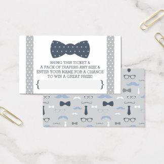 Little Man Diaper Raffle Ticket, Navy Blue, Gray Business Card