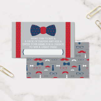 Little Man Diaper Raffle Ticket, Navy Blue, Red Business Card