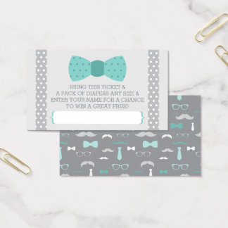 Little Man Diaper Raffle Ticket, Teal, Gray Business Card