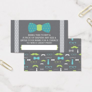 Toddler & Baby themed Little Man Diaper Raffle Ticket, Teal, Lime, Gray Business Card