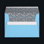 """Little Man Envelope, Mustache, Baby Blue, Gray Envelope<br><div class=""""desc"""">Mail your invitations off in style!   More color choices and matching items can be found here: http://www.zazzle.com/collections/baby_shower_for_a_little_man-119632624469811392s</div>"""