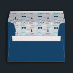 """Little Man Envelope, Mustache, Baby Blue, Navy Envelope<br><div class=""""desc"""">Mail your invitations off in style!   More color choices and matching items can be found here: http://www.zazzle.com/collections/baby_shower_for_a_little_man-119632624469811392s</div>"""